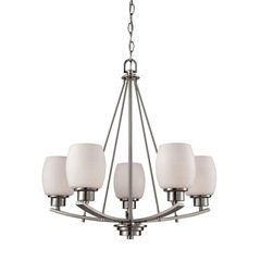Casual Mission 5 Light Chandelier In Brushed Nickel With White Lined Glass