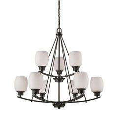 Casual Mission 9 Light Chandelier In Oil Rubbed Bronze With White Lined Glass