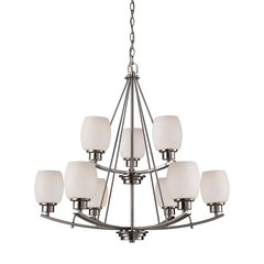 Casual Mission 9 Light Chandelier In Brushed Nickel With White Lined Glass