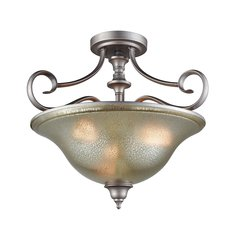 Georgetown 3 Light Semi Flush In Weathered Zinc With Mercury Glass