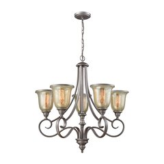 Georgetown 5 Light Chandelier In Weathered Zinc With Mercury Glass