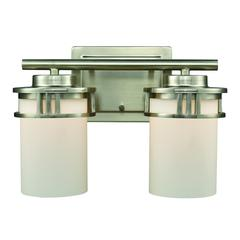 Ravendale 2 Light Bath In Brushed Nickel With Opal White Glass