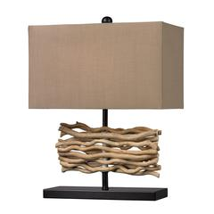 Natural Driftwood Table Lamp in Black With Caramel Shade
