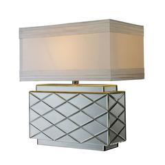 Wellsville Table Lamp In Mirror Finish With White Shade