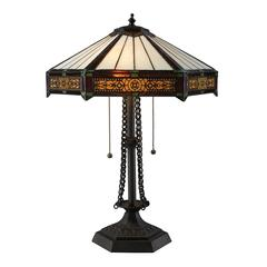 "Dimond 22"" Filigree Tiffany Glass Table Lamp in Tiffany Bronze"