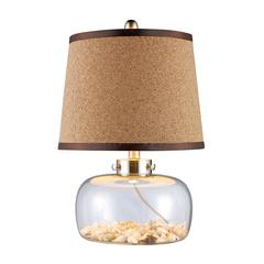 Margate Table Lamp In Clear Glass With Shells And Natural Cork Shade