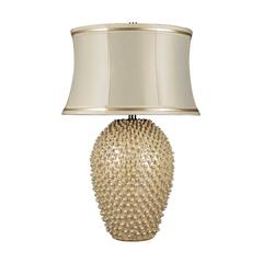 Pineville Table Lamp In Pearlescent Cream With Cream Faux Silk Shade