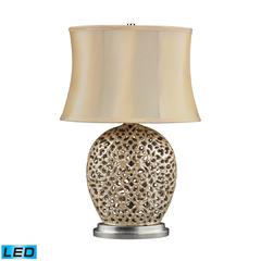 Serene LED Table Lamp In Pearlescent Cream With Light Beige Shade