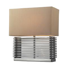Andros Slatted Table Lamp In Chrome With Light Beige Shade
