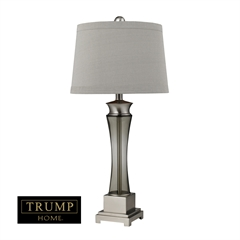 """Dimond TRUMP HOME 30"""" Onassis Set of 2 Grey Smoke Glass Table Lamps in Nickel"""