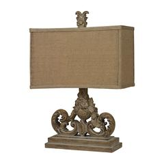 Sutherlin Table Lamp in Aged Wood