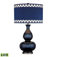 "28"" Heathfield Glass LED Table Lamp in Navy Blue"