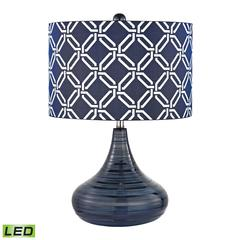 Peebles Ceramic LED Table Lamp In Navy Blue With Printed Shade