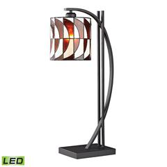 "Dimond 25"" Eastbourne Tiffany Glass LED Table Lamp in Matte Black"