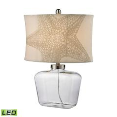 "Dimond 26"" Clear Glass Bottle LED Table Lamp in Polished Nickel"