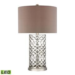 "Dimond 30"" Laser Cut Metal LED Table Lamp in Polished Nickel"