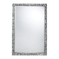 Sterling Island Falls Mirror In A Silver Mother Of Pearl Shell Finish.