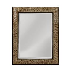 This Beveled Mirror Has Appealing Leaf Patterned Frame