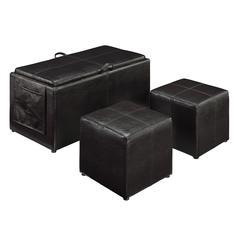"Linon Letty Brown Three Piece Ottoman, 35.5""W X 18""D X 18""H, Black"