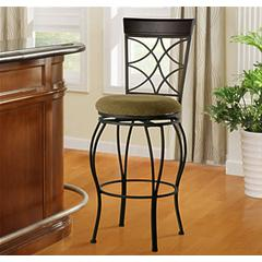"Linon Curves Back Bar Stool 30, 17""W X 20""D X 46""H, Metallic Brown & Brown Wood"