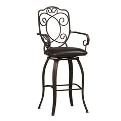 "Crested Back Bar Stool 30, 22.64""W X 18.9""D X 47.64""H, Powder Coating"