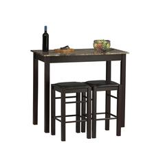 "Linon Three Piece Tavern Set, 42""W X 22.25""D X 36""H, Espresso"