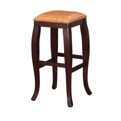 "Linon San Francisco Square Top Bar Stool - Caramel, 14.25""W X 14.25""D X 30""H, Wenge Finish"