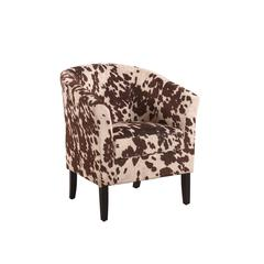 "Linon Simon Chair Udder Madness, 28.25""W X 25.5""D X 33""H, Dark Walnut"