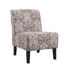 "Coco Accent Chair - Gray Damask, 22.5""W X 30""D X 33""H, Black"