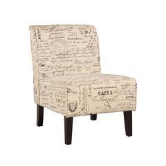 """Linon Coco Accent Chair - Script Linen, 22.5""""W X 30""""D X 33""""H, Dark Walnut"""