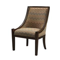 "Linon CARNEGIE CHAIR - BROWN CHEVRON, 24.75""W X 28.25""D X 37.75""H, Dark Brown"