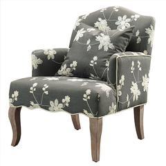 "Linon Floral Arm Chair, 28""W X 31""D X 36""H, Gray Wash"