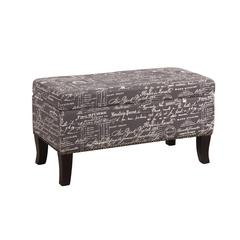 "Linon Stephanie Ottoman Grey Linen with Script, 32""W X 16""D X 18""H, Black"