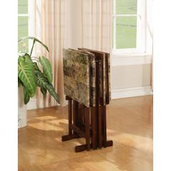 "Linon TRAY TABLE SET FAUX MARBLE -BROWN, 18.88""W X 15.75""D X 26.38""H, Faux Marble"