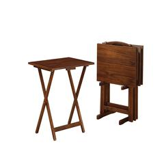 """Linon Acacia Tray Table Set, 18.9""""W X 15.75""""D X 26.4""""H, Acacia Stain/Walnut"""