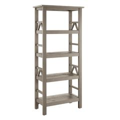 "Titian Rustic Gray Bookcase, 24.6""W X 12.2""D X 54.4""H, Rustic Gray"