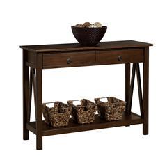 """Linon TITIAN CONSOLE TABLE ANTIQUE, 42.01""""W X 13.98""""D X 30.71""""H, Antique Tobacco"""