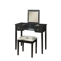 "Linon Vanity Set Black W/ Butterfly Bench, 36""W X 18""D X 30""H, Black"
