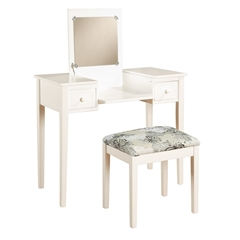 "Linon VANITY SET WHITE BUTTERFLY BENCH, 36""W X 18""D X 30""H, White"