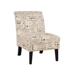 """Linon Linen Script Lily Chair, 21.5""""W X 29.5""""D X 31.5""""H, Dark Walnut"""