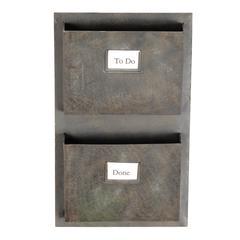 "Industrial Metal Two Slot Mailbox, 14.75""W X 4""D X 23""""H, Grey"