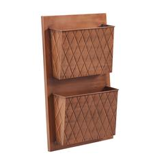 Two Slot Copper Cross Hatch Wall Mailbox
