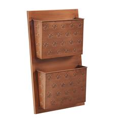Two Slot Copper Fleur-de-lis Wall Mailbox