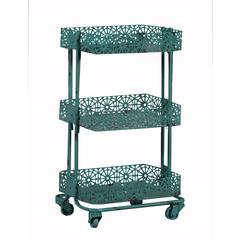 """Turquoise Metal Three Tier Cart, 17""""W X 11""""D X 29.5""""H, Turquoise"""