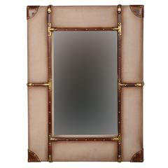 "Vintage Framed Wall Mirror - Small, 24""W X 3""D X 32""H, Beige, Brown"