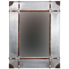 "Aluminum Framed Wall Mirror - Small, 24""W X 3""D X 32""H, Silver, Brown"