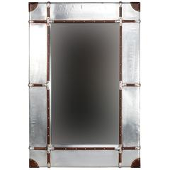 """Aluminum Framed Wall Mirror - Large, 32""""W X 3""""D X 48""""H, Silver, Brown"""