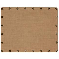 """Burlap Nailhead Corkboard - Small, 22""""W X 28""""D X 1.25""""H, Brown, Bronze"""