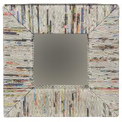 "Newspaper Square Mirror, 16.5""W X 2.75""D X 16.5""H, Multi"