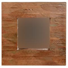 "Mahogany Leaf Square Mirror, 16.5""W X 2.75""D X 16.5""H, Brown"